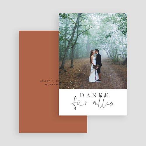 Dankeskarten Hochzeit mit Foto - Calligraphie Zimt 72249 thumb