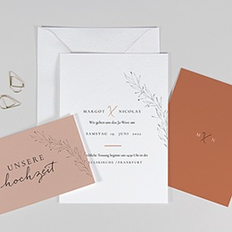 Einladungskarten Naturhochzeit  Calligraphie Zimt