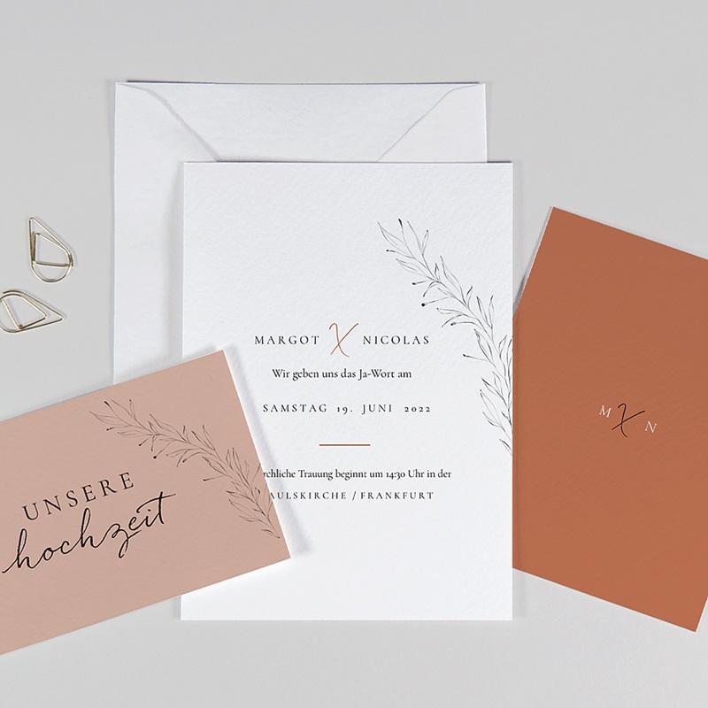 Hochzeitseinladungen Calligraphie Zimt