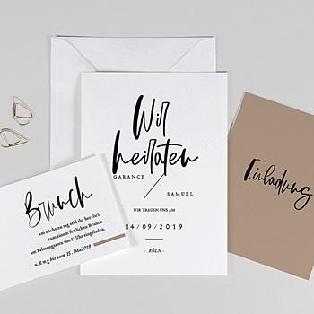 Einladungskarten Hochzeit  - Brush Schrift - 0