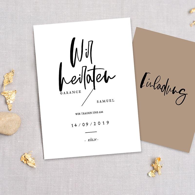 Hochzeitseinladungen Brush Schrift