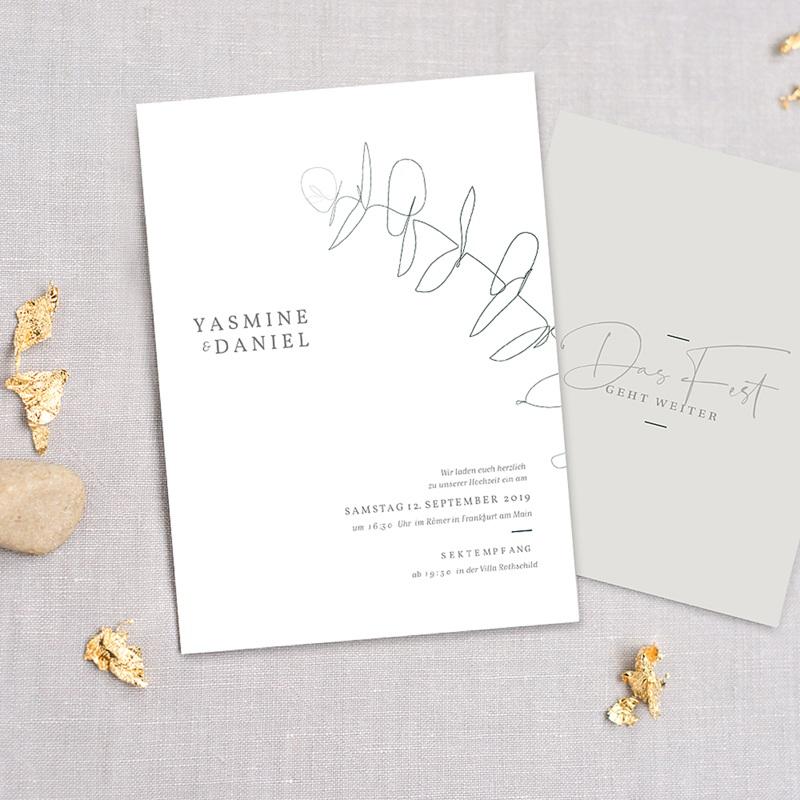 Hochzeitseinladungen Schlicht - Eukalyptus 72319 thumb