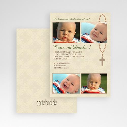 Dankeskarten Taufe Jungen - Baby kreuz 7232 thumb