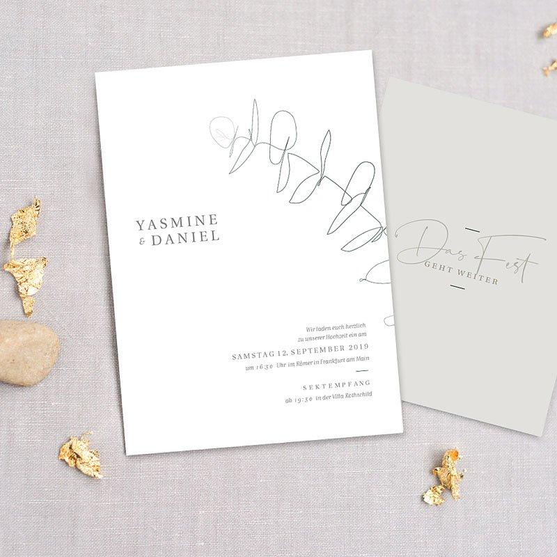 Hochzeitseinladungen Schlicht - Eukalyptus 72320 thumb