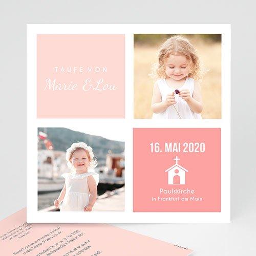 Einladungskarten Taufe Zwillinge Quadratisch