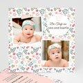 Einladungskarten Taufe für Zwillinge Blooming Floral