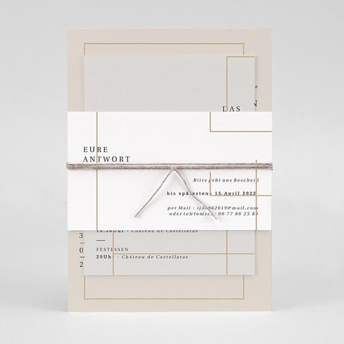 Einladungskarten Hochzeit  Golden Frame pas cher