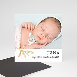 Dankeskarten Geburt Magnet Goldzweig