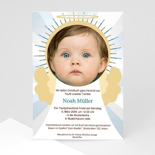 Einladungskarten Taufe Jungen  - Engel 7267