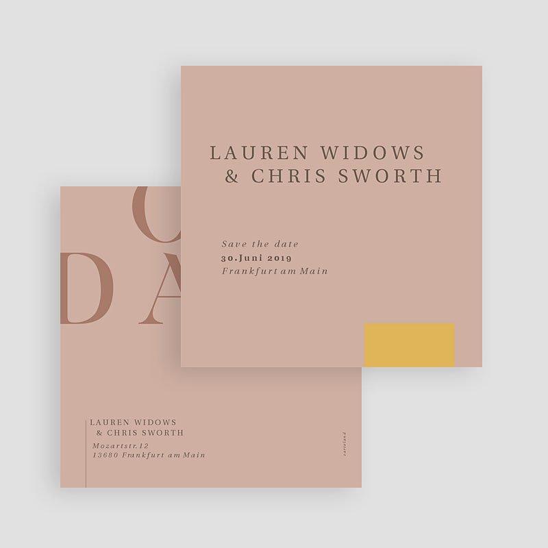 Save The Date Karten Hochzeit Blush & Gold, D-day, 10 x 10 gratuit