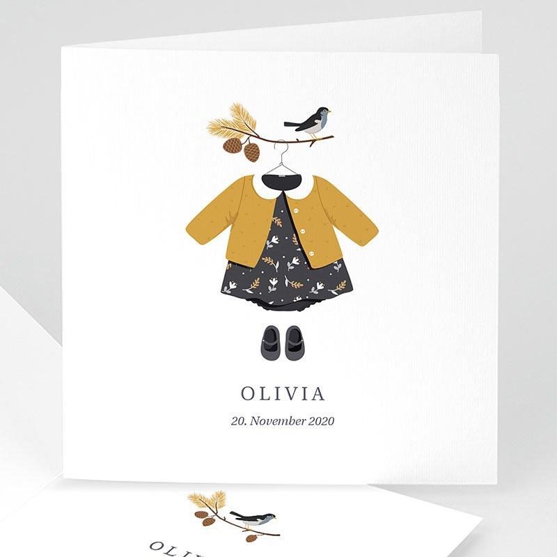 Geburtskarten mit Vogel Herbstoutfit