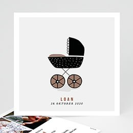 Karten Geburt Retro Kinderwagen