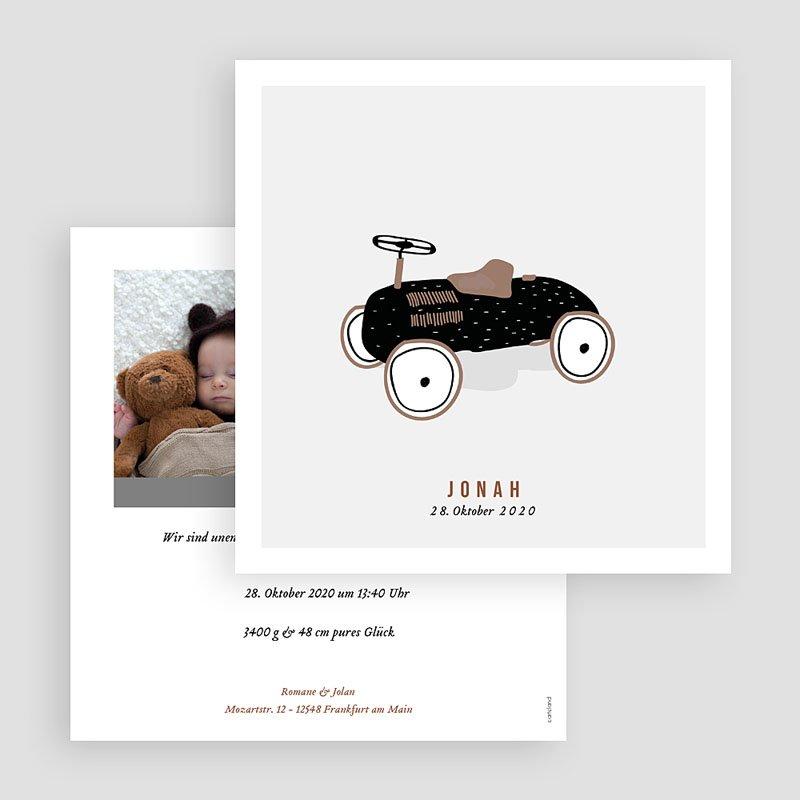 Geburtskarten Vintage Tretauto gratuit