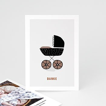 Dankeskarten Geburt Mädchen Retro-Kinderwagen