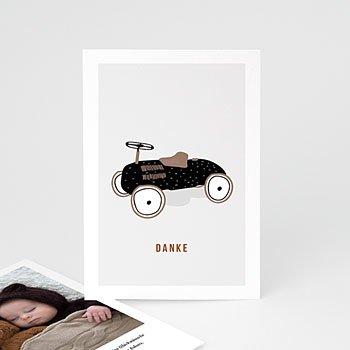 Dankeskarten Geburt Jungen - Vintage Tretauto - 0