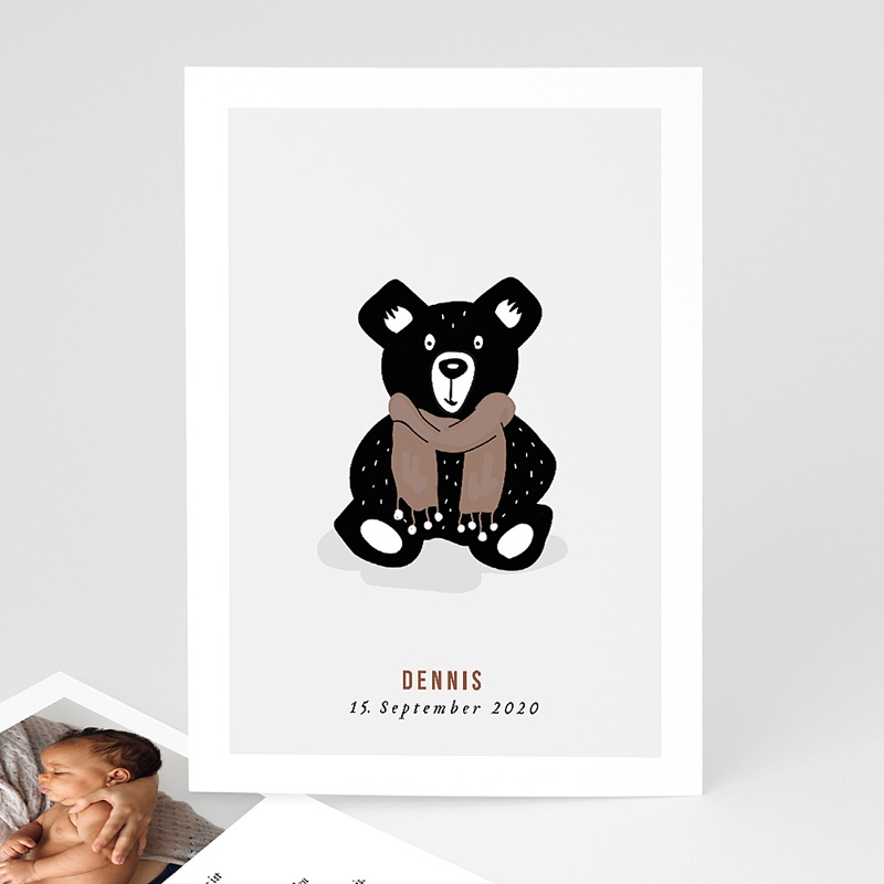 Geburtskarten mit Bär Retro Bär
