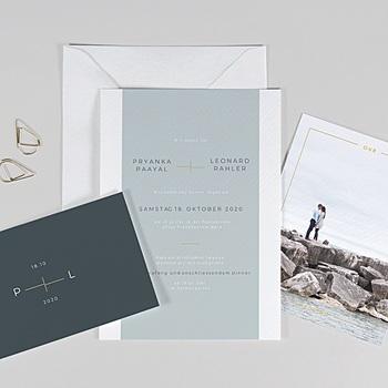 Einladungskarten Hochzeit  - Mineral Blau - 0