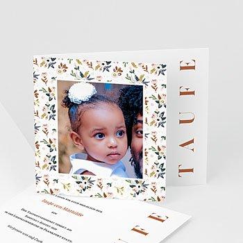 Einladungskarten Taufe mit Fotos - Vintage Flower - 0
