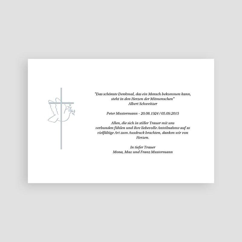 Trauer Danksagung christlich Taube und grauer Rahmen pas cher