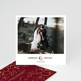 Dankeskarten Hochzeit - Blumen Marsala - 0