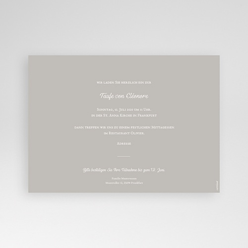 Einladungskarten Taufe für Mädchen Grafisch pas cher
