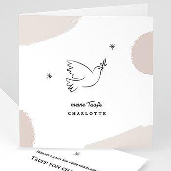 Einladungskarten Taufe Mädchen - Friedenstaube - 0