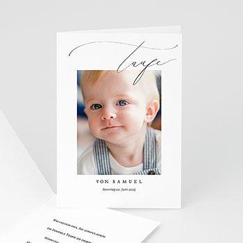 Einladungskarten Taufe mit Fotos Pulverblau