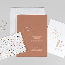 Kreative Hochzeitskarten Terrazzo Gold