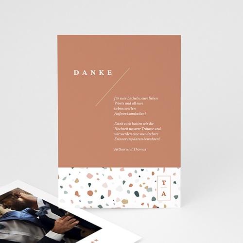 Kreative Dankeskarten Hochzeit Terrazzo Gold