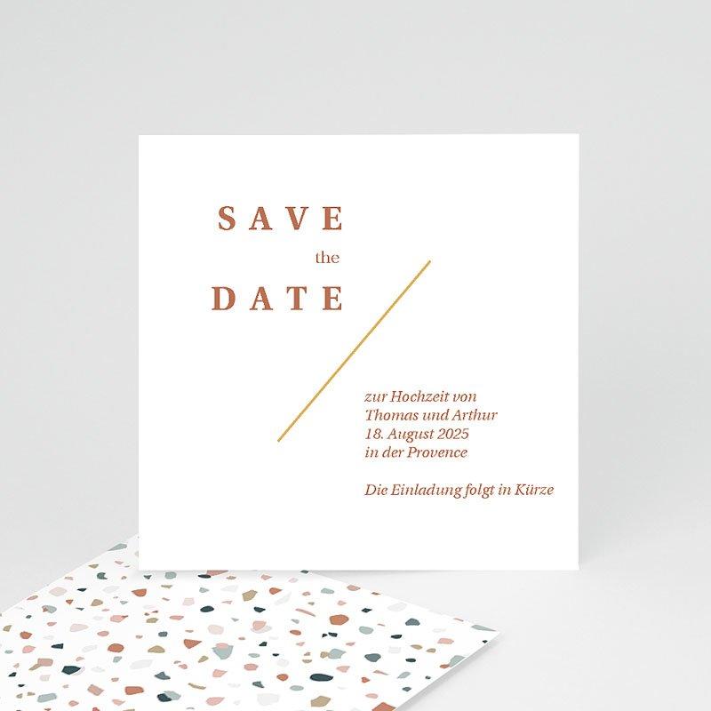 Save The Date Karten Hochzeit Terrazzo Gold, 10 x 10