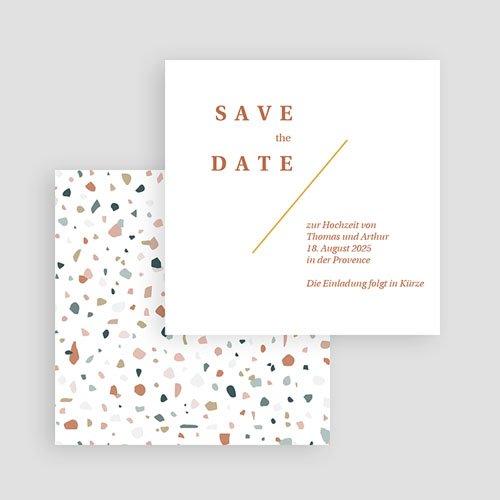 Save The Date Karten Hochzeit Terrazzo Gold, 10 x 10  gratuit