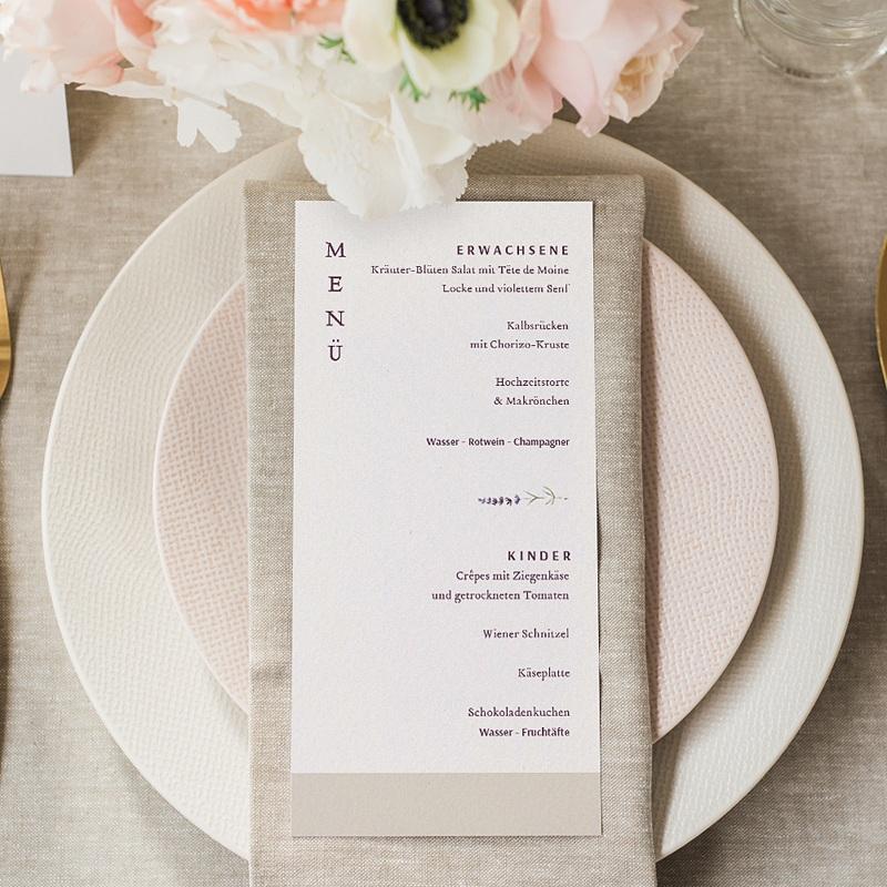 Menükarten Hochzeit Lavendel gratuit