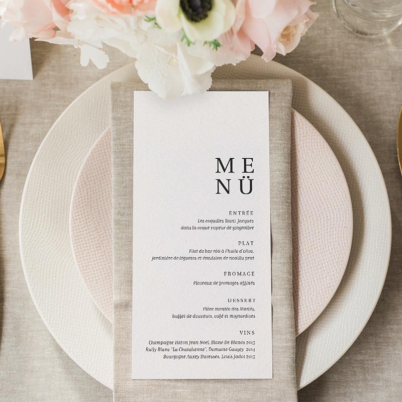 Menükarten Hochzeit Typografisch und Form gratuit