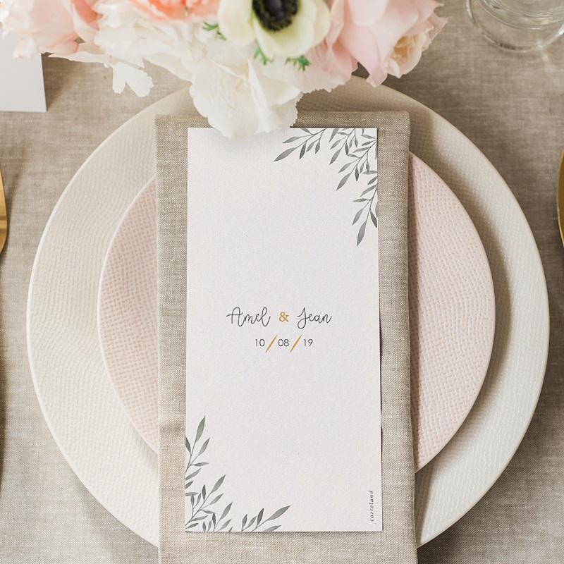 Menükarten Hochzeit Olivenzweige Aquarell gratuit