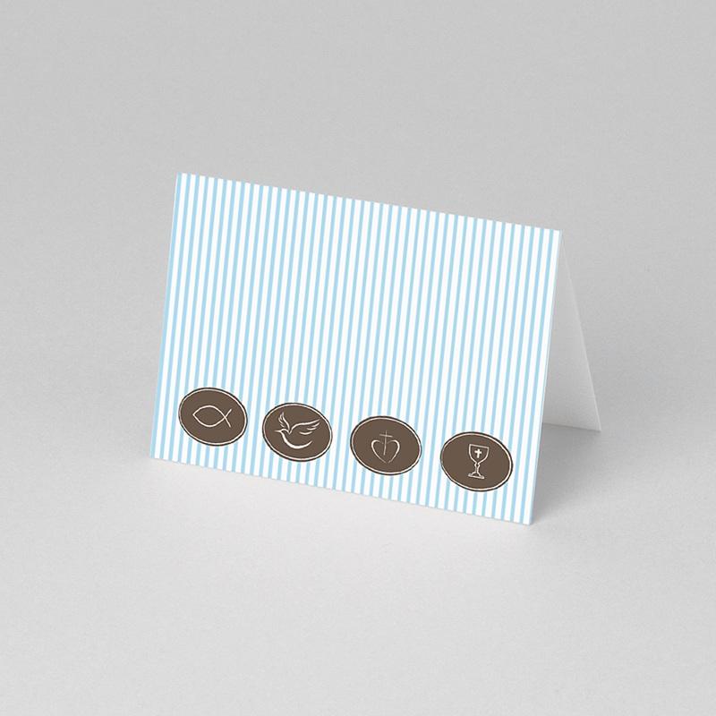 Tischkarten Kommunion Blau gestreift 1 pas cher