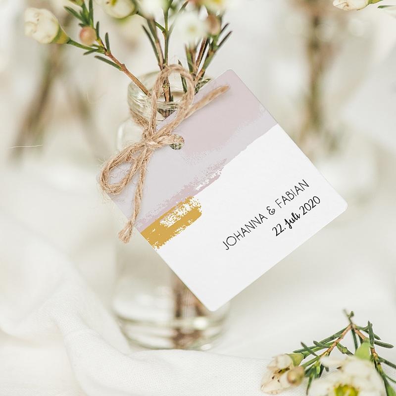 Geschenkanhänger Hochzeit Rose Quarz
