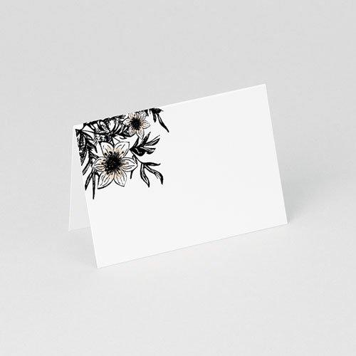 Tischkarten Hochzeit Black Flowers Pastel gratuit