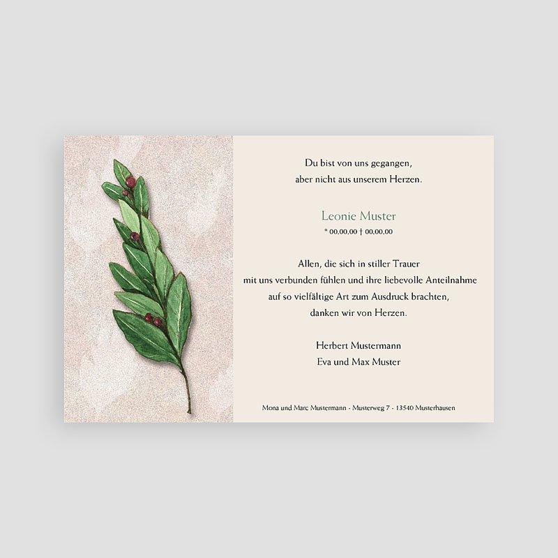 Weltlich Dankeskarten Trauer Lorbeerzweig pas cher