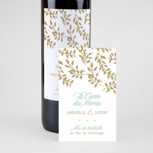 Flaschenetiketten Hochzeit Goldschimmernde Blätter pas cher