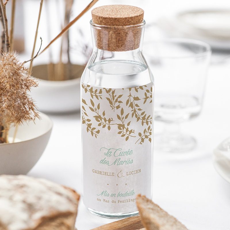 Flaschenetiketten Hochzeit Goldschimmernde Blätter gratuit