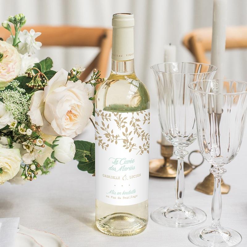 Flaschenetiketten Hochzeit Goldschimmernde Blätter