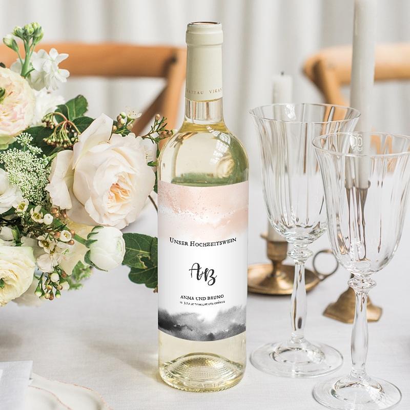 Flaschenetiketten Hochzeit Aquarell trifft Gold