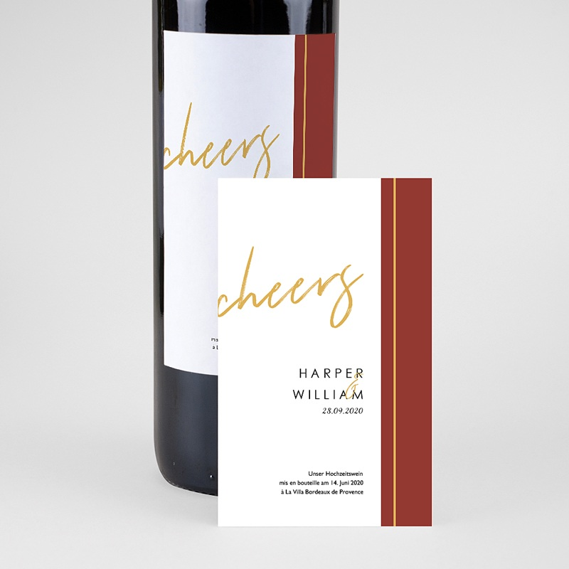 Flaschenetiketten Hochzeit - Gold & Bordeaux 74975 thumb