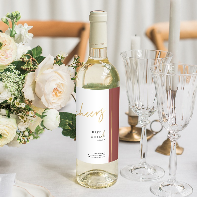 Flaschenetiketten Hochzeit - Gold & Bordeaux 74977 thumb