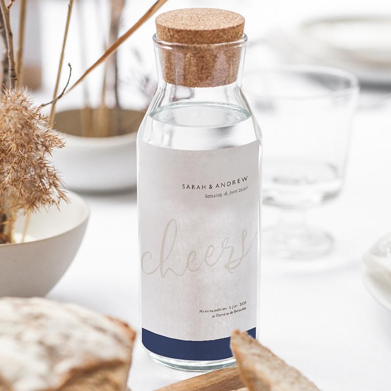 Flaschenetiketten Hochzeit Blue Color Touch gratuit