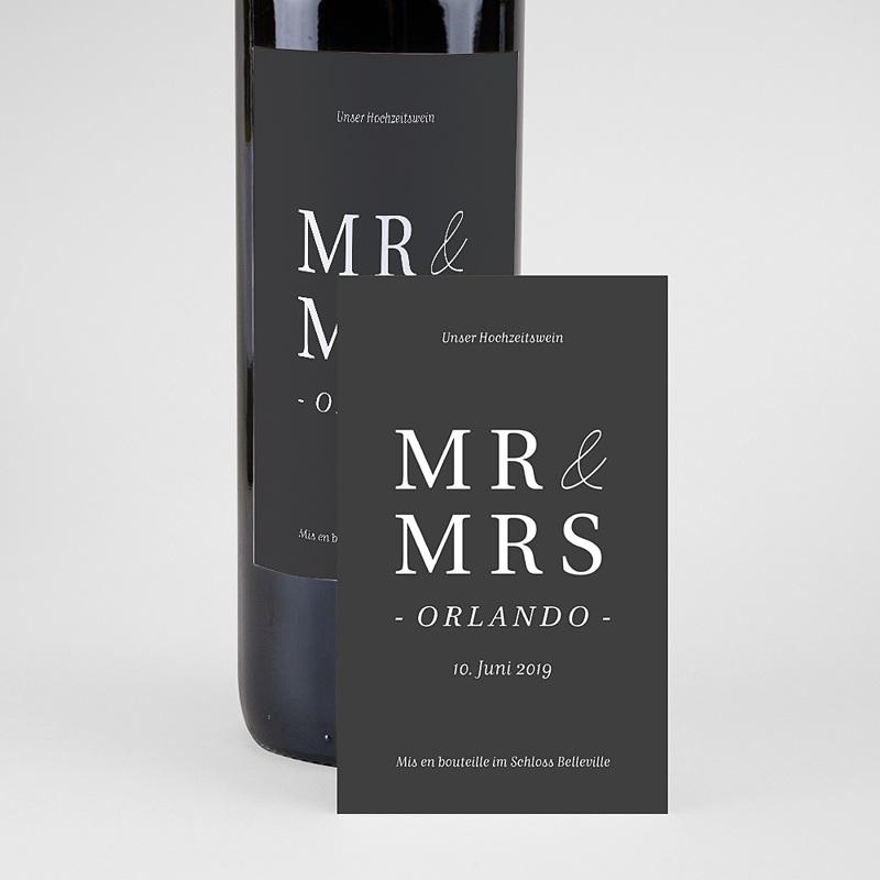 Flaschenetiketten Hochzeit Typografisch und Form pas cher