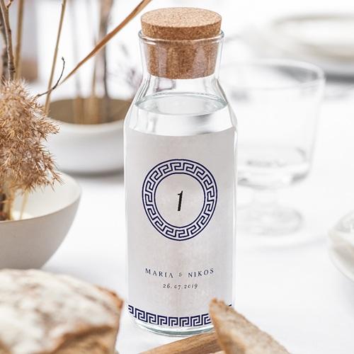 Flaschenetiketten Hochzeit Griechisches Blau gratuit