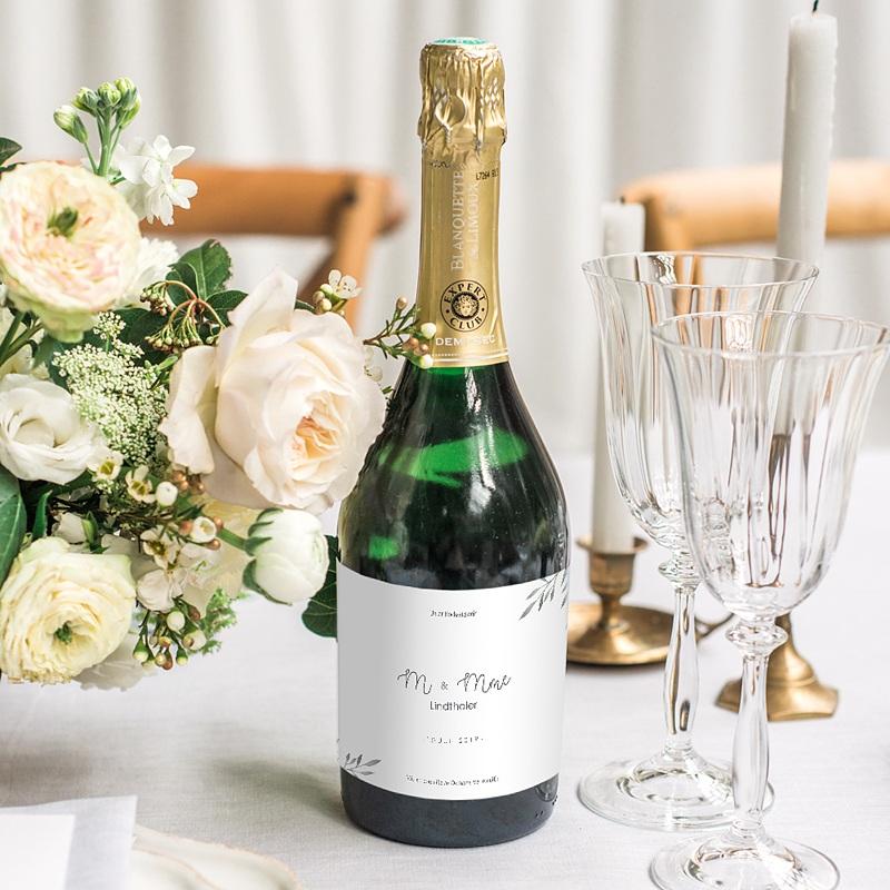 Flaschenetiketten Hochzeit Olivenzweige Aquarell gratuit