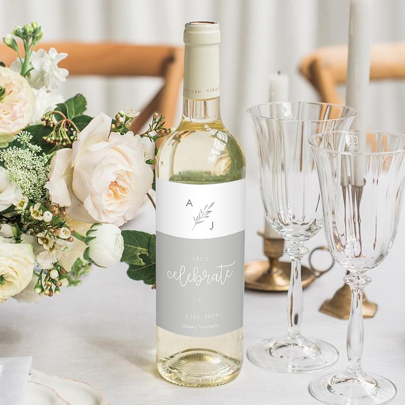 Flaschenetiketten Hochzeit Olivenzweige Aquarell