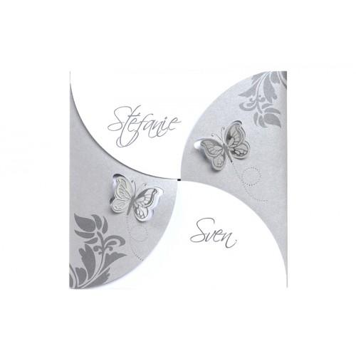 Hochzeitseinladungen traditionell -  2 Schmetterlinge 7541